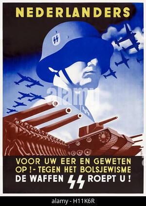 'Nederlanders Voor Uw Eer En Geweten Op! - Tegen het Bolsjewisme' (Netherlanders: For Your Honour and Conscience - Stock Photo