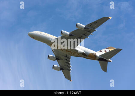 Etihad Airways Airbus A380-861 taking off from Heathrow Airport, Greater London, England, United Kingdom - Stock Photo