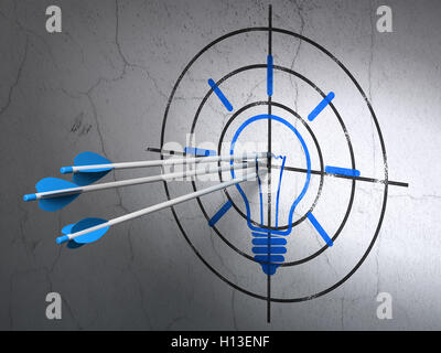 Business concept: arrows in Light Bulb target on wall background - Stock Photo