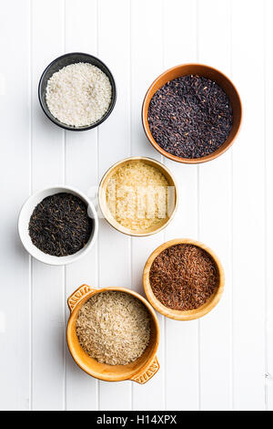 Different rice varieties in bowl. Top view. - Stock Photo