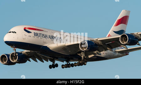 British Airways Airbus A380 (A380-800) G-XLEA superjumbo jetliner on final approach for landing - Stock Photo