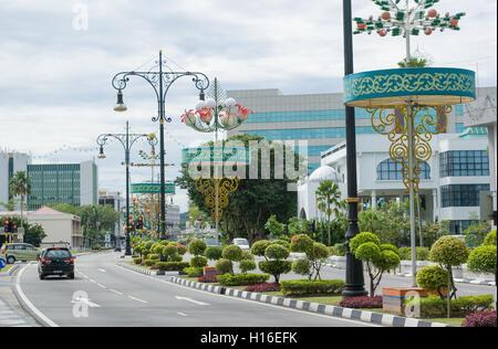 Bandar Seri Begawan with beautiful street lamps and topiary gardens - Stock Photo