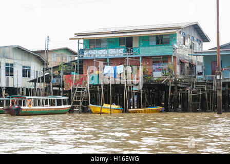 Houses on stilts in water village, Kampong Ayer near Bandar Seri Begawan, Brunei - Stock Photo