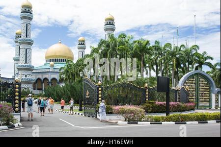 Royal palace in Bandar Seri Begawan, Brunei with many tourists - Stock Photo