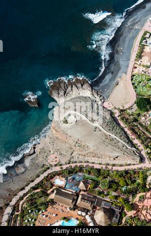Beach and promenade, Playa de la Enramada, Atlantic Coast, Costa Adeje, Tenerife, Spain - Stock Photo