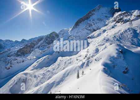 Garmisch Classic ski resort in winter, Alpspitze behind, Wetterstein, Garmisch-Partenkirchen District, Upper Bavaria, - Stock Photo
