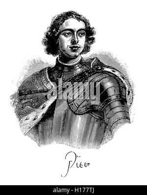 Peter the Great ruled the Tsardom of Russia and later the Russian Empire, reformed the social and political system - Stock Photo
