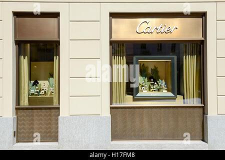 Lugano, Switzerland - 25 august 2016: showcases of Cartier watchmaker store at Lugano on Switzerland - Stock Photo