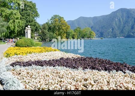 Lugano, Switzerland - 25 august 2016: people walking on the botanical park of Ciani in the center of Lugano, Switzerland - Stock Photo