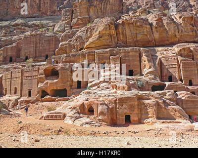 Street of Facades, Tombs of Petra, Jordan - Stock Photo