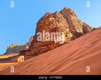 Red Dune in the Desert of Wadi Rum, Jordan - Stock Photo