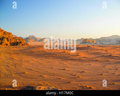Sunset in the Desert of Wadi Rum, Jordan - Stock Photo
