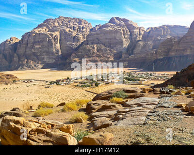 the village of Wadi Rum from above, Jordan - Stock Photo