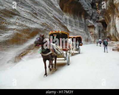 horse carriage between the rocks of  Petra in Jordan - Stock Photo