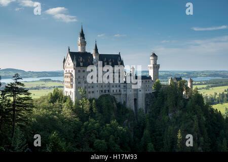Castle Neuschwanstein, Schwangau, Bavaria, Germany - Stock Photo