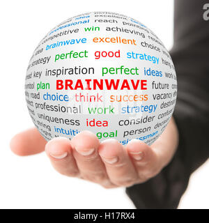Hand take white ball with red inscription Brainwave - Stock Photo