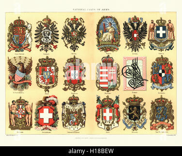 National Coat of Arms Great Britain USA Denmark Germany Spain Switzerland Russia Portugal Sweden Norway France Hungary - Stock Photo