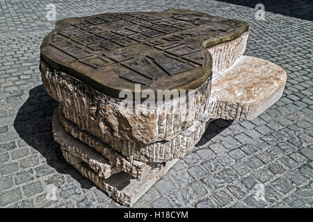 TIMISOARA, ROMANIA - APRIL 7, 2016: View of symbolic old bronze map placed at one street intersection in Timisoara, - Stock Photo