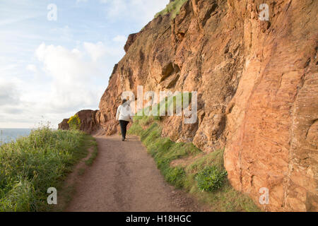 Giants Causeway Coastal Footpath; County Antrim; Northern Ireland, UK - Stock Photo