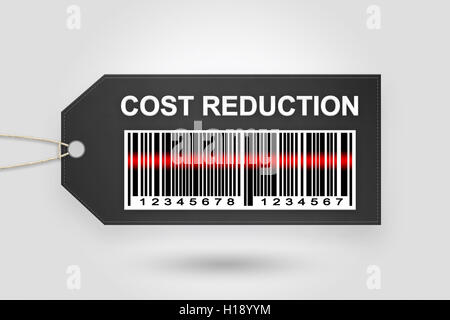 cost reduction price tag with barcode and grey radial gradient background - Stock Photo