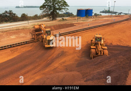 2 Front end loaders loading hopper with lump iron ore from reclaimed stack behind. Ore then passes onto conveyor - Stock Photo
