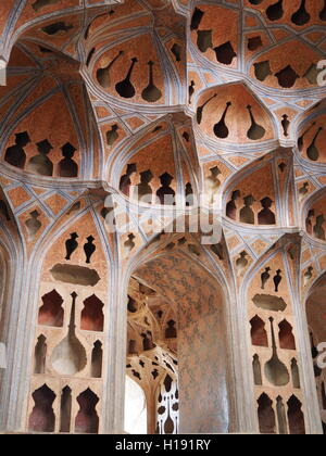 Ali Qapu palace interior architecture in Isfahan, Iran - Stock Photo