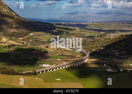 Landscape  in Segesta archaeological area, Sicily - Stock Photo