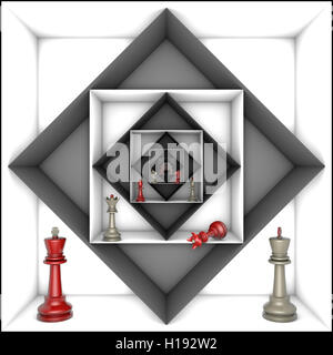 Red and gray chess pieces in black and white tunnels. 3d image. - Stock Photo