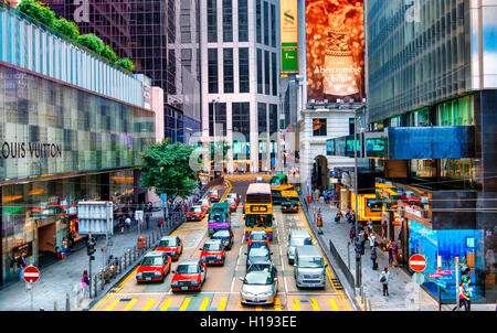 Des Voeux road in Central disctrict, Hong Kong - Stock Photo