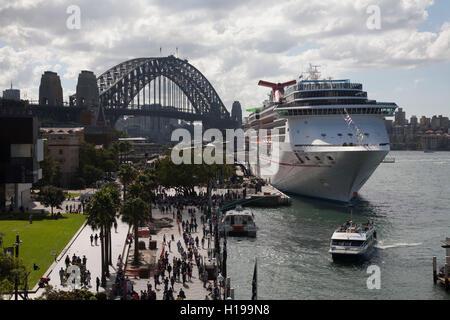 The Carnival Spirit Cruise Ship berthed at the Overseas Passenger Terminal Sydney Australia. - Stock Photo