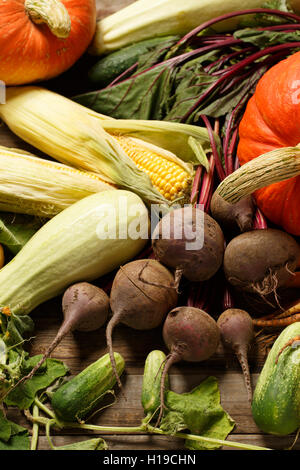 Autumn still-life with pumpkins, corn, beets and cucumbers - Stock Photo