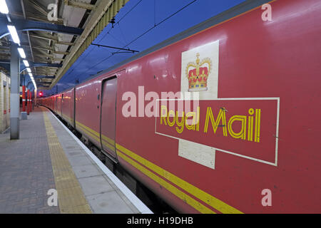 Royal Mail train TPO traveling Post Office north from Warrington Bank Quay Station, England,UK - Stock Photo