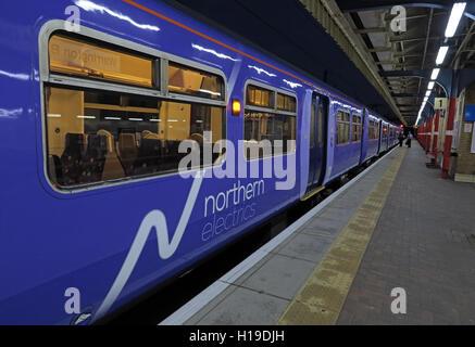 Northern Electrics, at Warrington Bank Quay Railway Station, Cheshire, England UK - Stock Photo