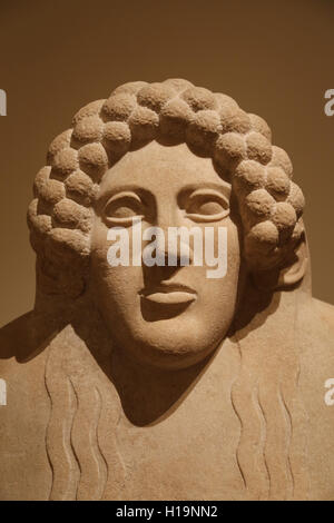 Marble anthropoid sarcophagus. Graeco-Phoenician, Classical. 5th century BC. Necropolis of Kition. Cyprus. Head - Stock Photo
