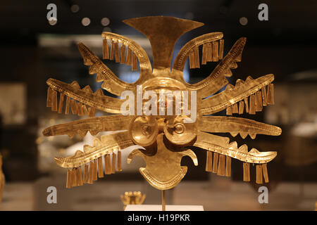 Headdress Ornament. Colombia. Yotoco (Calima), 1st-7th century. Gold. Metropolitan Museum of Art. Ny. Usa. - Stock Photo