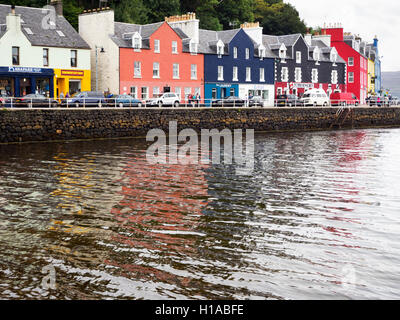 Colourful Painted Buildings on the Waterfront at Tobermory Isle of Mull Argyll and Bute Scotland - Stock Photo