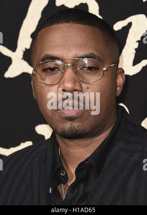 LOS ANGELES, CA - SEPTEMBER 21:  Nas at the Los Angeles premiere of Fox Searchlight Pictures 'The Birth of A Nation' - Stock Photo