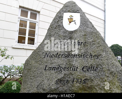 Celle, Germany. 16th Sep, 2016. A boulder refers to the founding of the state stud Celle in 1735 at the stud farm - Stock Photo