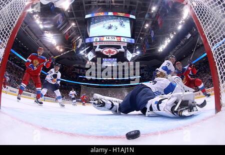 TORONTO, CANADA – SEPTEMBER 22, 2016: Finland's goalie Tuukka Rask (C) concedes a goal in the2016 World Cup of Hockey - Stock Photo