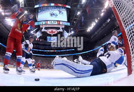TORONTO, CANADA – SEPTEMBER 22, 2016: Finland's goalie Tuukka Rask (R) concedes a goal in the2016 World Cup of Hockey - Stock Photo