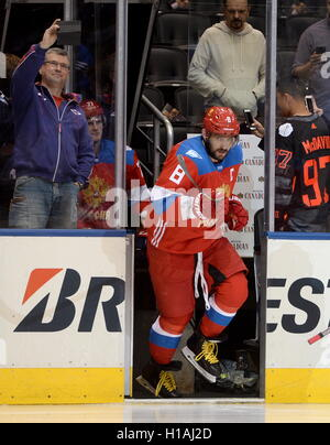 TORONTO, CANADA – SEPTEMBER 22, 2016: Russia's Alexander Ovechkin in the 2016 World Cup of Hockey match against - Stock Photo