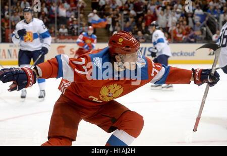 TORONTO, CANADA – SEPTEMBER 22, 2016: Russia's Ivan Telegin celebrates scoring in the 2016 World Cup of Hockey match - Stock Photo