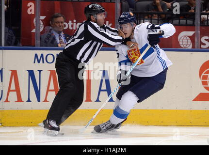TORONTO, CANADA – SEPTEMBER 22, 2016: Finland's Rasmus Ristolainen (R) in the 2016 World Cup of Hockey match against - Stock Photo