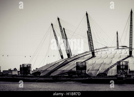 LONDON, UK - MARCH 16, 2014: The Millennium Dome, London's famous entertainment and shopping arena. Processed in - Stock Photo
