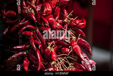 close-up photo of a bunch of red chili peppers in a market - Stock Photo