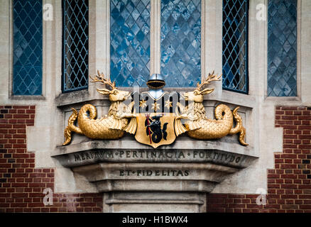 LONDON, UK - MAY 25, 2014: Heraldic sign featuring the words 'Meritum pertinacia fortitudo et fidelitas' on Crosby - Stock Photo