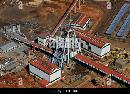 Aerial photograph of Roodepoort Main Reef Areas Gold Mine in Slovoville, Johannesburg, Gauteng, South Africa - Stock Photo