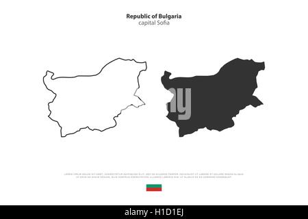 Republic of Bulgaria map and official flag isolated on white background. vector Bulgarian political map illustration. - Stock Photo