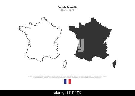France Political Map With Capital Paris National Borders Most - Paris map outline