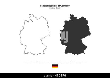 Federal Republic Of Germany Map And Official Flag Icon Over Dark - Germany map vector